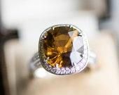 Vintage brown zircon diamond ring, dark yellow gemstone white gold antique jewelry, big statement cocktail jewellery, dress wife gift idea