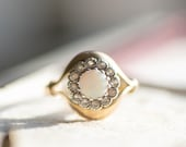 70s vintage opal white paste ring, gold engagement ring, antique white stone jewellery, jewelry girlfriend anniversary birthday wife