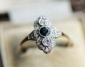 Art deco style sapphire diamond engagement gold ring, Antique blue gem stone, vintage jewellery, estate jewelry,