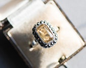 Vintage orange stone marcasite silver ring, yellow gemstone statement cocktail dress jewellery antique jewelry anniversary birthday wife