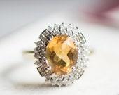 Vintage citrine diamond gold ring, yellow gemstone antique jewelry, big statement cocktail jewellery, dress anniversary wife gift idea