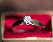Vintage diamond engagement ring, vintage proposal wedding jewellery, promise gold jewelry, girlfriend anniversary birthday wife gift idea