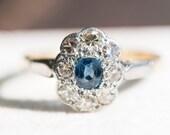 Vintage sapphire diamond engagement gold ring, blue gem stone statement cocktail jewellery, estate jewelry, wife girlfriend anniversary gift