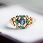 Vintage emerald sapphire diamond gold ring, green blue gemstone, statement estate jewelry, girl wife birthday anniversary jewellery gift