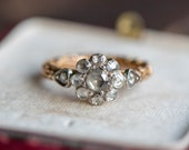 Vintage antique rose cut diamond engagement ring, estate proposal wedding jewellery, promise jewelry anniversary
