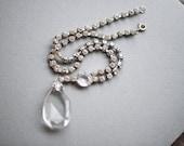 Vintage costume rhinestone crystal necklace, diamond imitation estate jewellery, silver tone jewelry, accessory wife girlfriend gift idea