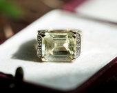 Vintage diamond yellow quartz ring, green gem statement jewellery dress accessories jewelry, girlfriend wife gift ideas birthday anniversary