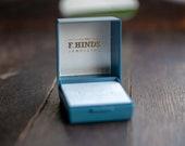 Blue vintage ring box, plastic jewellery box, English jewelry gift box, vintage engagement proposal box, navy case