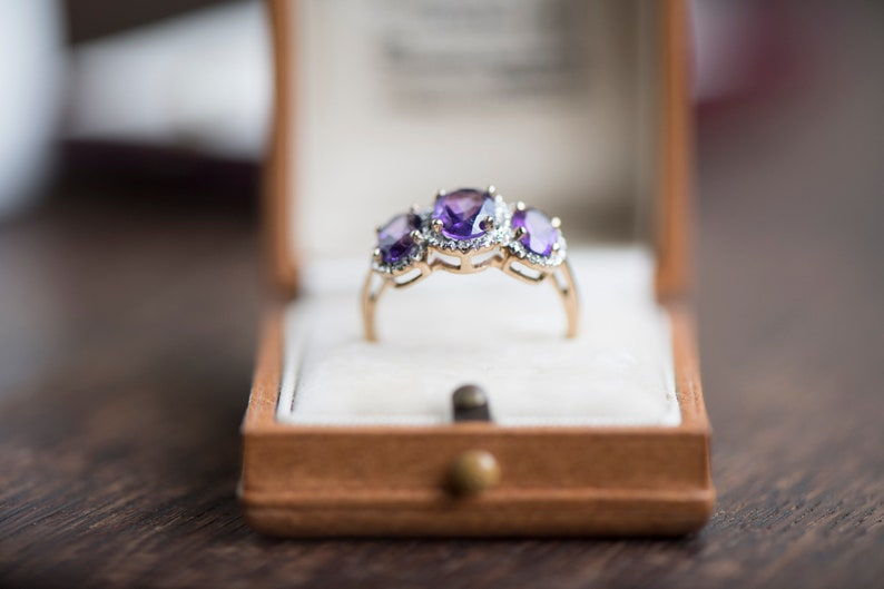 purple gemstone antique jewellery Vintage amethyst diamond gold ring estate jewelry wife girlfriend gift birthday