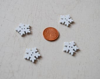 Set of 10 buttons 17.5 mm snowflakes set 99