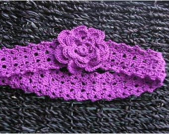 Headband crocheted purple 40 cm circumference head