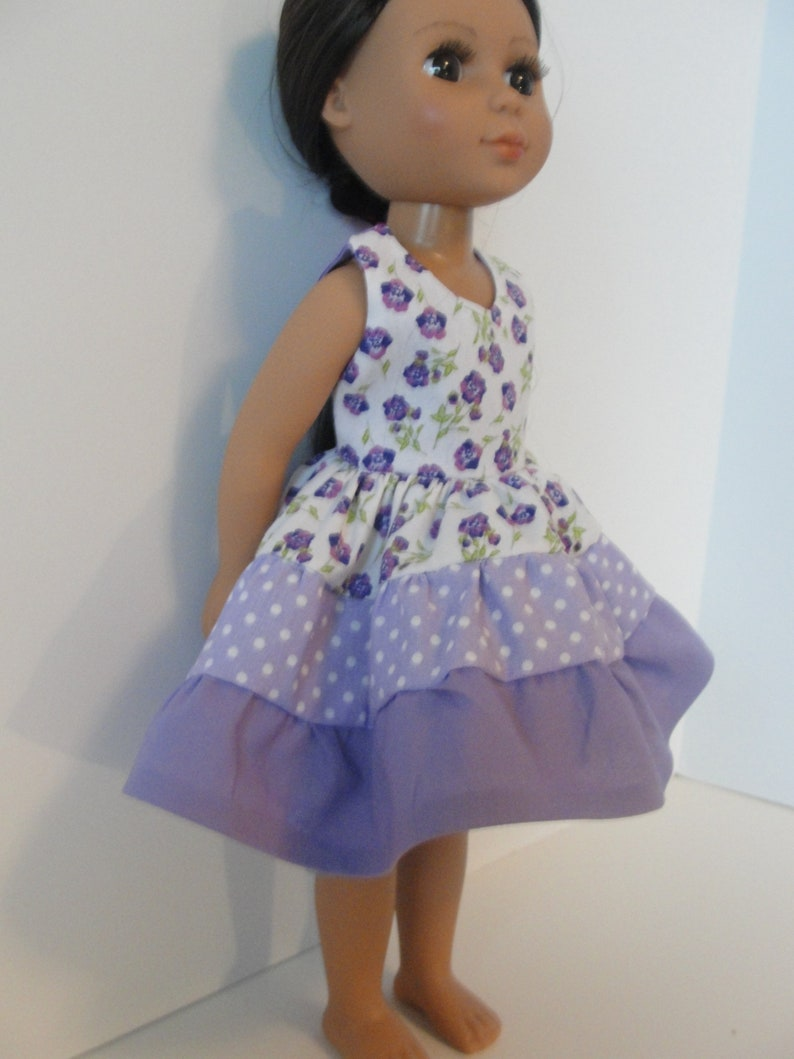 """Purple Flower Nightgown fits 14.5/"""" American Girl Wellie Wishers Doll Clothes"""