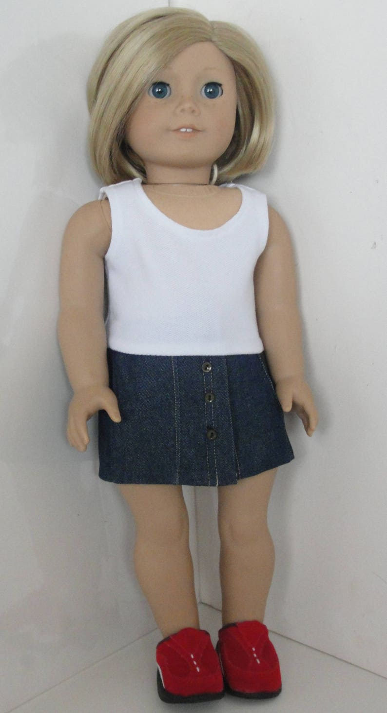 ab76d5396f American girl doll size 18 inch doll clothes. White t and
