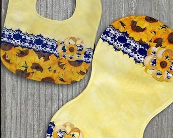 Yellow and Blue Baby Shower Gift Newborn Baby Girl Sunflower Personalized Bib and Burp Cloth Set New Baby Gift Custom Name Bib