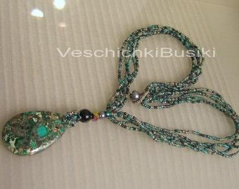 """20"""" Beautiful seed beads Malachite mix necklace"""