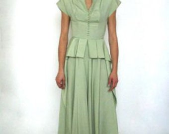 1940'S Silk Taffeta Dress