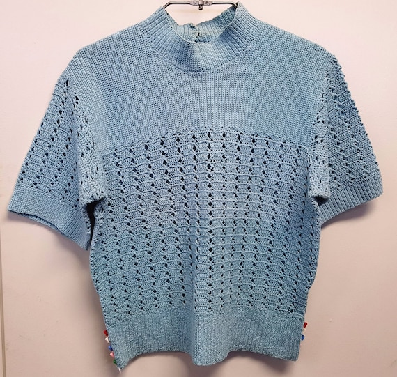 Vintage 1950's Teal Blue Hand Crocheted Small Swea