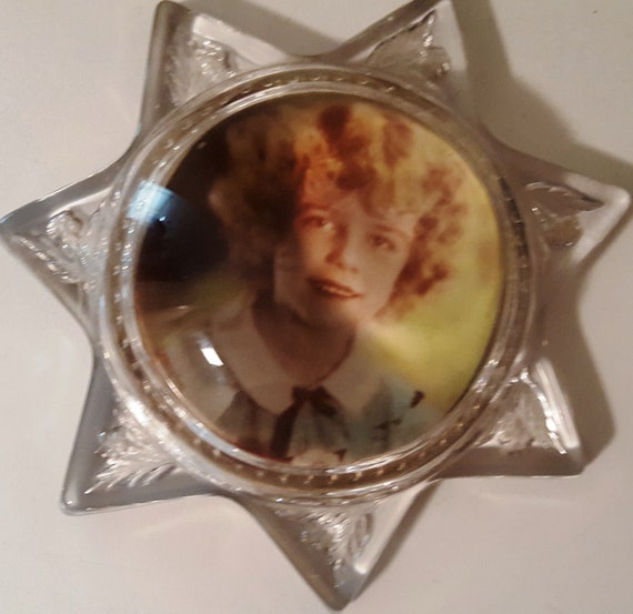 Antique loupe presse papier étoile Vintage Photo Shirley Temple comme fille
