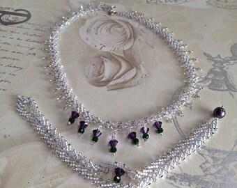 Scottish Thistle Wedding Set: Necklace and Bracelet