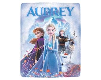 Disney Frozen Princess Inspired Fleece Babytoddler-Kids Blanket Personalized Name Custom Embroidered  Anna and Elsa  baby shower gift