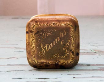 Antique Victorian Edwardian Brass Stamp Box