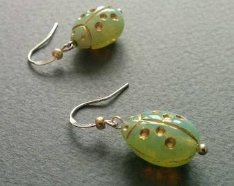 Bugs. Vintage opalescent Czech glass beads earrings.