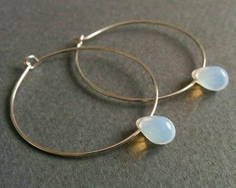 Edison. Opalite / moonstone light bulb hoop earrings.
