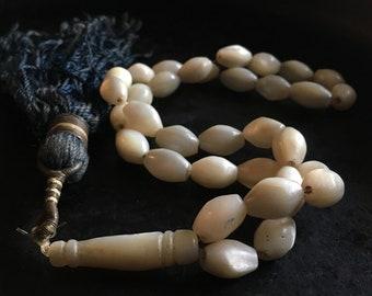 Vintage mother of pearl tesbih, old tesbih, hand carved mop prayer beads