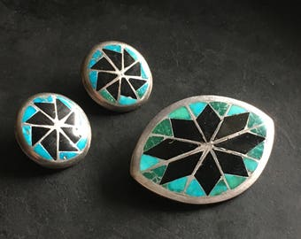 Zuni inlay demi parure brooch and earrings, turquoise and jet, Johnson and Roberta Banketewa 1970s