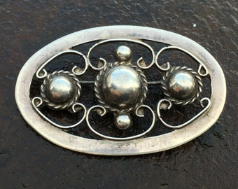 Vintage Mexican sterling silver brooch, signed