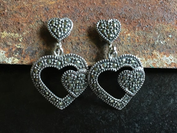 Dangling sterling marcasite clip on dangling heart