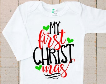 My First Christmas Shirt Baby LONG SLEEVE Bodysuit Shirt One Piece