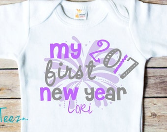 My First New Year Shirt Firework Baby Bodysuit Personalized with Name and Year