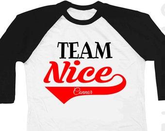cd282008 Christmas Shirt Team Naughty Nice Boy girl Black Raglan Funny Shirt  Personalized black Raglan 3/4th Sleeve Shirt Toddler Youth Shirt