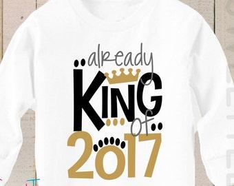 New Years Shirt LONG SLEEVE King of 2017 Boy Shirt bodysuit
