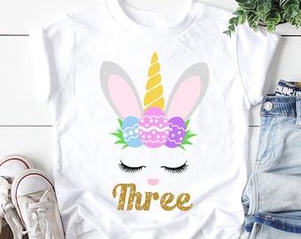 15cd2ceef Third Birthday Shirt , Third Birthday Shirt Girl , Third Birthday Shirt  Easter , Unicorn Bunny Shirt , Easter Birthday Shirt , 3rd Birthday