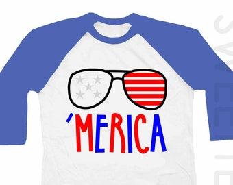 Merica Shirt 4th of July Raglan Royal Blue Sleeve Boy Girl Patriotic Red White Blue Fourth of July Shirt