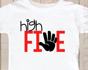 Birthday Shirt Fifth Birthday Shirt High Five Boy Shirt