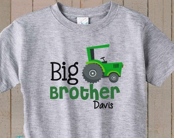 5be4f33a Big Brother Shirt Green Tractor Shirt Toddler Boy Personalized Kid's Shirt  Pregnancy Announcement