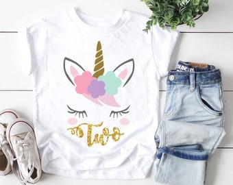 Second Birthday Shirt Girl Personalized Unicorn T 2nd