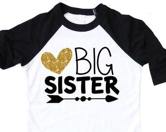 Big Sister Announcement Shirt ,   Gold Glitter Big Sister To Be Shirt , Gift for Big Sister To Be