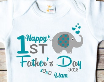 f9ec48df723c12 First Father s Day shirt Daddy Shirt Elephant Baby Boy Girl Bodysuit  Personalized