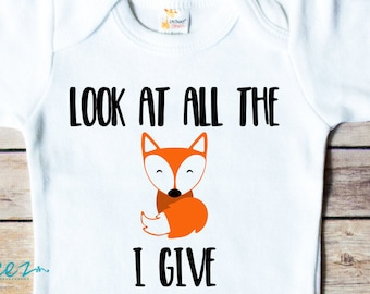 """Womens White T-shirt Fox Maid /""""Look at all the FOX i give/"""" Funny Sarcastic TS804"""