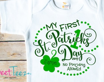 396d17104 My First St Patrick's day Shirt Baby Bodysuit Personalized with Name and  Year Shamrock