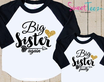 64a7a2d04 Big Sister Again Big Sister Finally Shirts , Big Sister Again Shirts , Big  Sister Finally Shirts , Matching Sister Shirts , Gift For Sisters