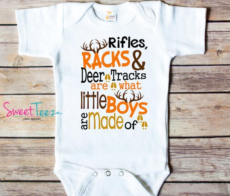 3eaa787a1edf4 Hunt Baby bodysuit Rifles Racks Deer Shirt Funny Boy Girl | Etsy