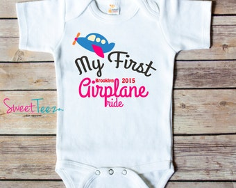 My First Airplane Ride Shirt Baby Girl Boy Vacation Baby Bodysuit Personalized