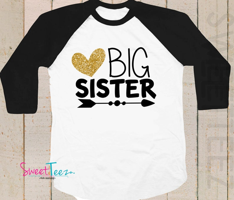 Big Sister Announcement Shirt    Gold Glitter Big Sister To Youth XL