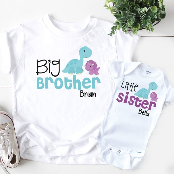 Big Brother Little Brother Shirt Set Personalized Gift for Brother Dinosaur