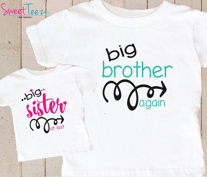 Big Brother Again Big Sister Shirts , Big Brother Again Big Sister Shirt  Set , Personalized Big Brother Again Big Sister shirts
